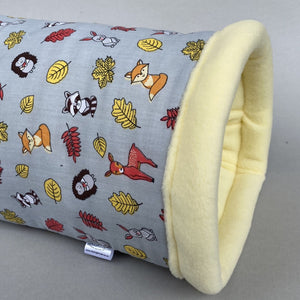 Grey and yellow woodland animals cosy bunker. Hedgehog and guinea pig padded fleece lined house.
