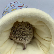 Load image into Gallery viewer, Grey and yellow woodland animals cosy bunker. Hedgehog and guinea pig padded fleece lined house.