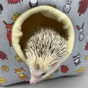 Grey and yellow woodland animals cosy cube house. Hedgehog and guinea pig padded fleece lined house.