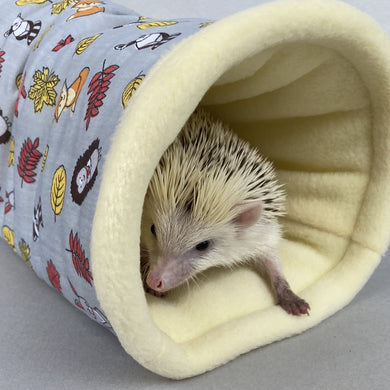Grey and yellow woodland animals stay open padded fleece tunnel. Padded tunnel for hedgehogs and small pets.