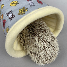 Load image into Gallery viewer, Grey and yellow woodland animals stay open padded fleece tunnel. Padded tunnel for hedgehogs and small pets.