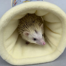 Load image into Gallery viewer, Grey and yellow woodland animals full cage set. Corner house, snuggle sack, tunnel cage set.