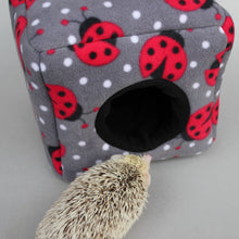Load image into Gallery viewer, Ladybird fleece cosy cube house. Hedgehog and guinea pig cube house.