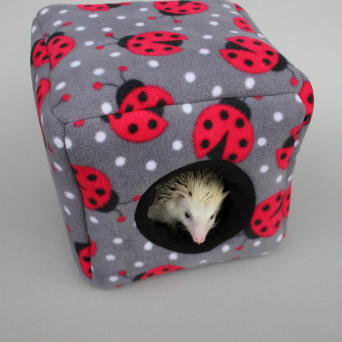 Ladybird fleece cosy cube house. Hedgehog and guinea pig cube house.