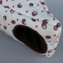 Load image into Gallery viewer, Cream hedgehog corner house. Hedgehog and small pet house. Padded fleece house.