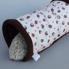 Load image into Gallery viewer, Cream hedgehog stay open padded fleece tunnel. Padded tunnel for small pets.