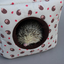 Load image into Gallery viewer, Cream hedgehog cosy cube house. Hedgehog and guinea pig cube house.