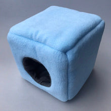 Load image into Gallery viewer, Fleece full cage set. Cube house, snuggle sack, tunnel cage set.