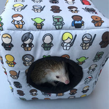 Load image into Gallery viewer, Far away galaxy cosy cube house. Hedgehog and guinea pig cube house. Padded fleece lined house.