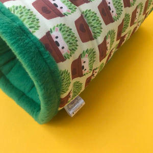 Cactus hedgehog stay open padded fleece tunnel. Padded tunnel for hedgehogs and small pets.