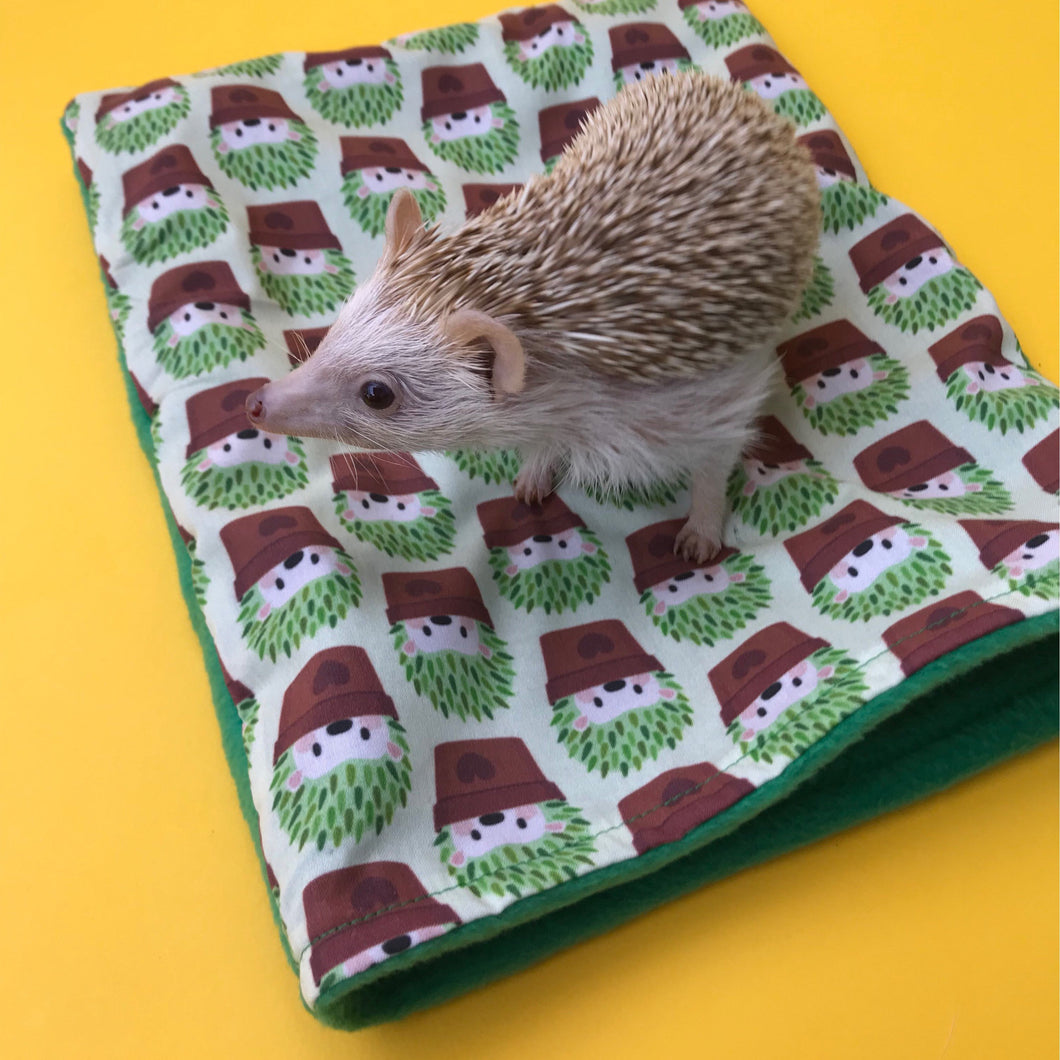 Cactus hedgehog snuggle sack. Small animal sleeping bag. Fleece lined.