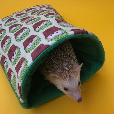Cactus hedgehog cosy snuggle cave. Padded stay open hedgehog bed.