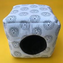 Load image into Gallery viewer, The Hoghouse cosy cube house. Hedgehog and guinea pig cube house. Padded fleece lined house.