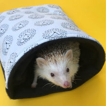Load image into Gallery viewer, The Hoghouse black and white hedgehog cosy snuggle cave. Padded stay open hedgehog bed.