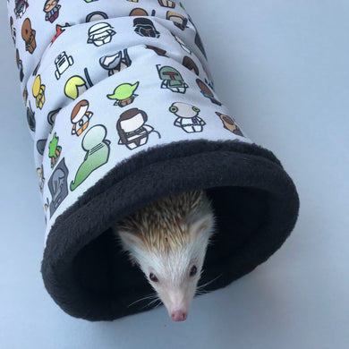 Far away galaxy stay open padded fleece tunnel. Padded tunnel for hedgehogs and small pets.