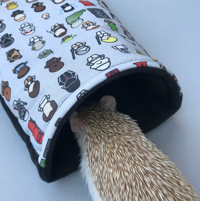 Far away galaxy cosy snuggle cave. Padded stay open hedgehog bed.