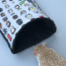 Load image into Gallery viewer, Far away galaxy cosy snuggle cave. Padded stay open hedgehog bed.