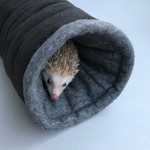 Load image into Gallery viewer, Regular stay open padded fleece tunnel. Padded tunnel for hedgehogs and guinea pigs.
