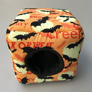 Creepy Halloween cozy cube. Cozy cube house for hedgehogs and small guinea pigs. Halloween hedgehog house.