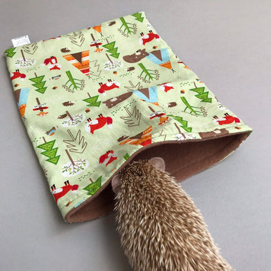Camping animals snuggle sack, snuggle pouch, sleeping bag for hedgehog and small guinea pigs.