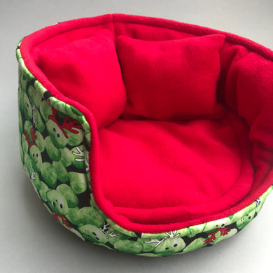 LARGE Christmas Brussels sprouts guinea pig cuddle cup. Guinea pig bed.
