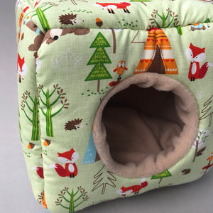 Camping animals cosy cube house. Hedgehog and guinea pig cube house.