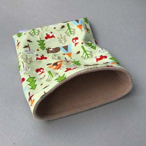 Camping animals full cage set. Corner house, snuggle sack, tunnel cage set.