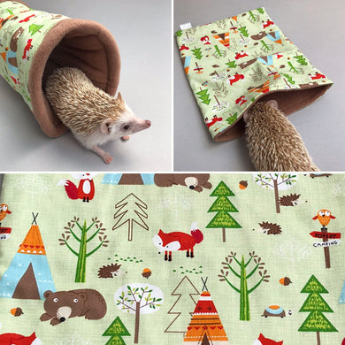 Camping animals mini set. Tunnel, snuggle sack and toys. Fleece bedding. Hedgehog fleece tunnel and pouch.