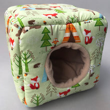 Load image into Gallery viewer, Camping animals cosy cube house. Hedgehog and guinea pig cube house.