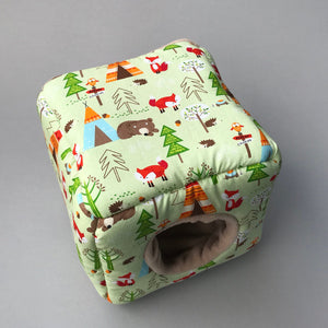 Camping animals full cage set. Cube house, snuggle sack, tunnel cage set