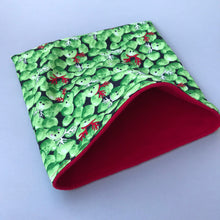 Load image into Gallery viewer, LARGE Christmas Brussels sprouts snuggle sack/snuggle pouch/sleeping bag for guinea pigs.