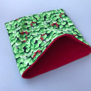 LARGE Christmas Brussels sprouts snuggle sack/snuggle pouch/sleeping bag for guinea pigs.