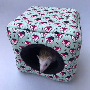 Dapper Mr Fox cosy cube house. Hedgehog and guinea pig cube house. Padded fleece lined house.