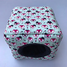 Load image into Gallery viewer, Dapper Mr Fox cosy cube house. Hedgehog and guinea pig cube house. Padded fleece lined house.