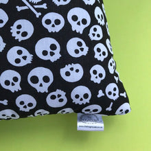 Load image into Gallery viewer, LARGE black and white skull cosy snuggle cave. Padded stay open cave.