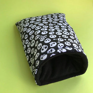 Black and white skull cosy snuggle cave. Padded stay open snuggle sack. Hedgehog bed.