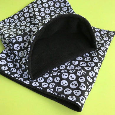 LARGE skull and bones snuggle sack. Snuggle pouch/sleeping bag for hedgehogs