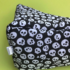 Black and white skull corner house. Hedgehog bed. Fleece pet bed.
