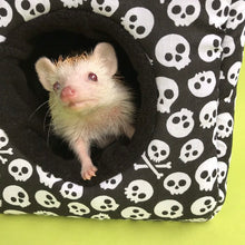 Load image into Gallery viewer, Black and white skull cosy cube bed. Hedgehog and guinea pig bed. Fleece pet bed.