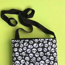 Load image into Gallery viewer, Padded black and white skull bonding bag, carry bag for hedgehog. Halloween pet tote.