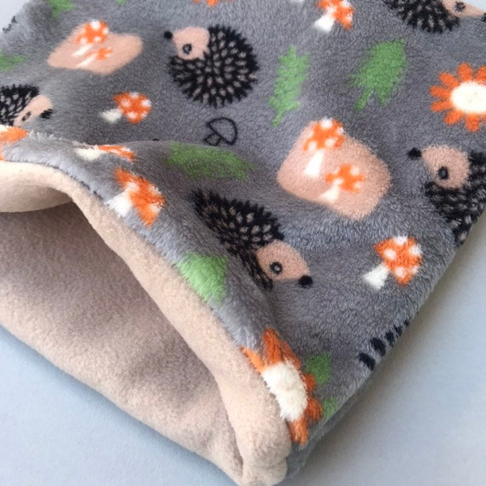 LARGE cuddle soft grey hedgehog or fox snuggle sack. Sleeping bag for hedgehogs and guinea pigs