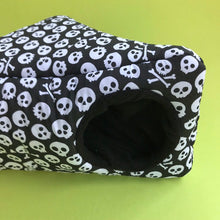 Load image into Gallery viewer, Black and white skull corner house. Hedgehog bed. Fleece pet bed.