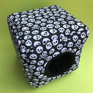 Black and white skull cosy cube bed. Hedgehog and guinea pig bed. Fleece pet bed.