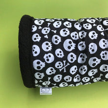 Load image into Gallery viewer, Black and white skull padded fleece tunnel. Tube. Padded tunnel for hedgehogs