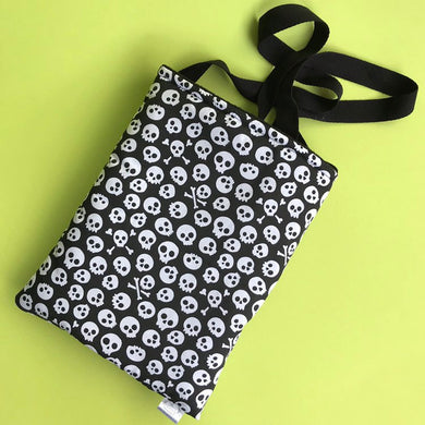 Padded black and white skull bonding bag, carry bag for hedgehog. Halloween pet tote.