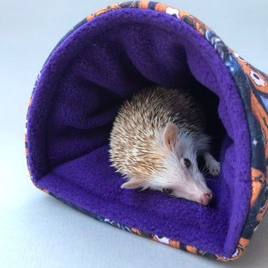 Pumpkin Halloween cosy snuggle cave. Padded stay open snuggle sack. Hedgehog bed.