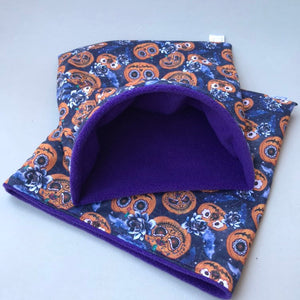 LARGE pumpkin Halloween snuggle sack. Snuggle pouch/sleeping bag for hedgehogs and guinea pigs