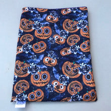 Load image into Gallery viewer, Pumpkin Halloween snuggle sack. Cuddle sack or stay open sack. Halloween bed.