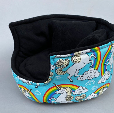LARGE unicorn cuddle cup. Pet sofa. Guinea pig bed. Pet beds. Fleece bed. Fleece sofa. Pet sofa.