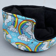 Load image into Gallery viewer, LARGE unicorn cuddle cup. Pet sofa. Guinea pig bed. Pet beds. Fleece bed. Fleece sofa. Pet sofa.